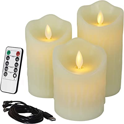 CVHOMEDECO. Flameless Candles Electronic Rechargeable Battery Extra Bright Ivory Dripping Real Wax Pillars LED Flickering Pillar Candle with 10-Key Remote Control, 3 PCS in Set