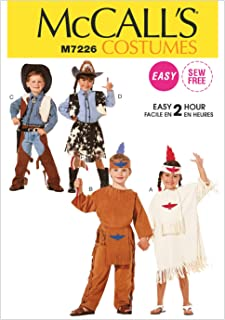 McCall's Costumes M7226 Children's Cowboys, Cowgirls, and Indians Halloween Costume Easy Sewing Pattern