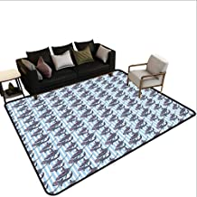 Home Custom Floor mat,Vertical Stripes Background with Hand Drawn Abstract Giant Marine Mammals 6'6