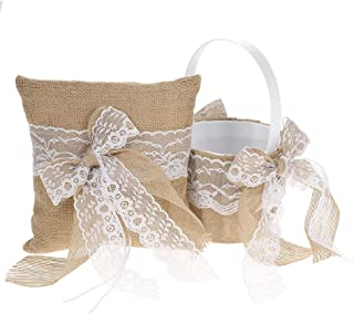 Flower Girl Basket, Vintage Burlap Lace Bowknot Ring Bearer Pillow and RusticFlower Girl Basket 7 x 7 Inches