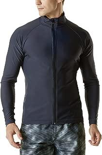 TESLA Men's UPF 50+ Zip Swim Front Long Sleeve Top Rashguard MSZ