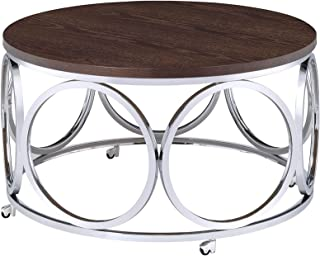Abbey Avenue Highland Round Coffee Table, Brown/Chrome