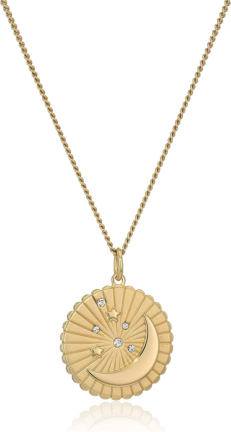Fossil Women's Moon + Star Nec Stainless Gold-Tone online shopping Steel Time sale Pendant