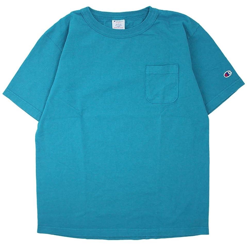 帰する飛行機振りかける(チャンピオン) Champion Made in USA T1011 US ポケット Tシャツ 製品染め 米国製 国内正規品 ブルーグリーン C5-M304-440