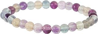 Garaulion Bracelet Pierre Précieuse Naturelle 6mm, Fluorite, Bijoux Perles Boule Homme Femme Couple,Cadeau Papa Maman,(Flu...