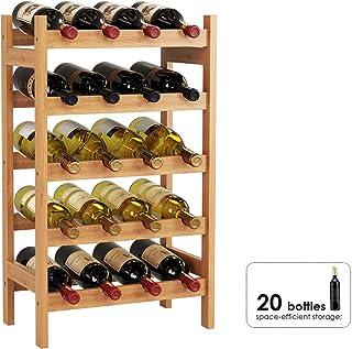 HOMECHO Botellero para 20 Botellas de 5 Estantes Estantería para Botellas de Vino de Bambú 43.5 x 24.6 x 73 cm