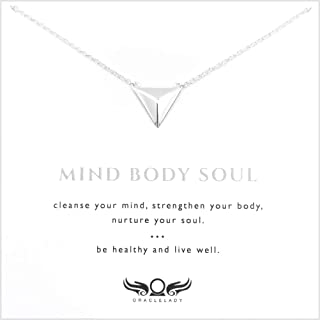 ORACLELADY Wellness Triangle Sterling Silver Necklace - Inspirational Gift for Women Dainty Simple Minimalist