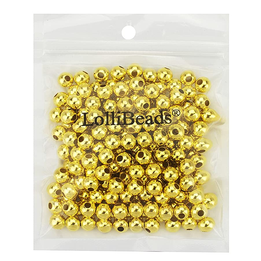 LolliBeads (R) Gold Plated Smooth Round Metal Beads 8 mm 200 Pcs