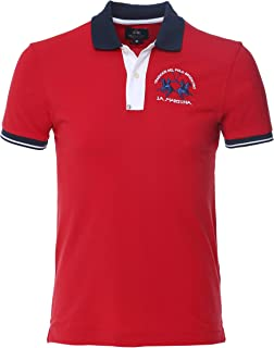 La Martina Men's Slim Fit Contrast Trim Polo Shirt Red