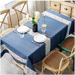 Gamvdout Élégant et Simple Table Bleu Tapis rectangulaire Nappe à Rayures de Pique-Nique Table de Pique-Pied Table de café...