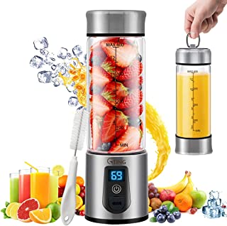 Portable Blender, G-TING Personal Smoothies Blender Cordless, Single Serve Mini Blender 450ml USB Rechargeable Small Juice Mixer Portable Juicer for Shakes, Smoothies, Home, Travel & Gym (FDA BPA Free)
