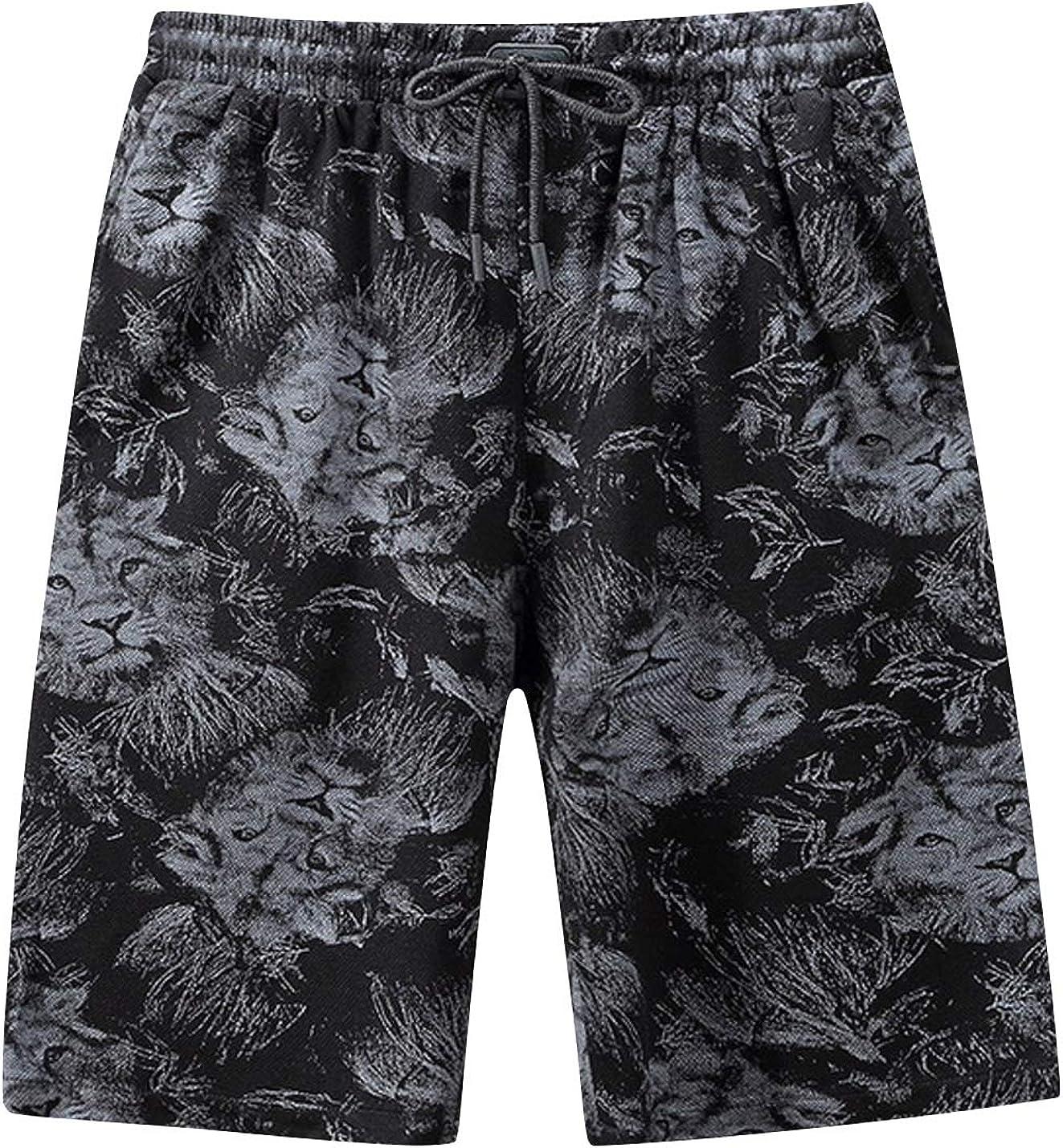 ZGZZ7 Men's Vintage Camouflage Shorts Mid Waist Wide Leg Printed Sport Running Active Short Pants