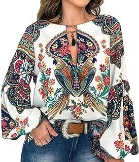 FENICAL Women Blouse Shirt Flower Print Long Sleeve Round Neck Casual Chiffon Blouse Shirt Tops T-Shirt for Women Ladies Size M (White)