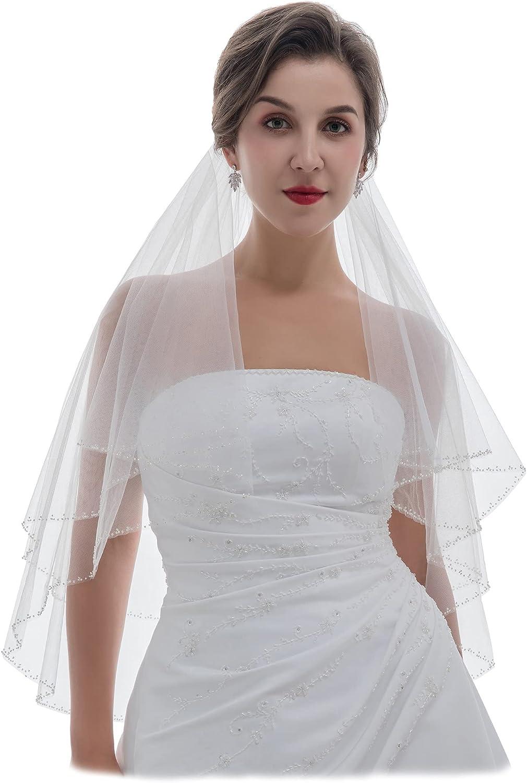 SAMKY 2T 2 Tier Silver Bugle Beaded Bridal Wedding Veil