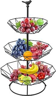 Corbeilles à fruits en métal à 3 étages - Grand présentoir pour fruits - Pour plus de place sur le plan de travail, étagèr...