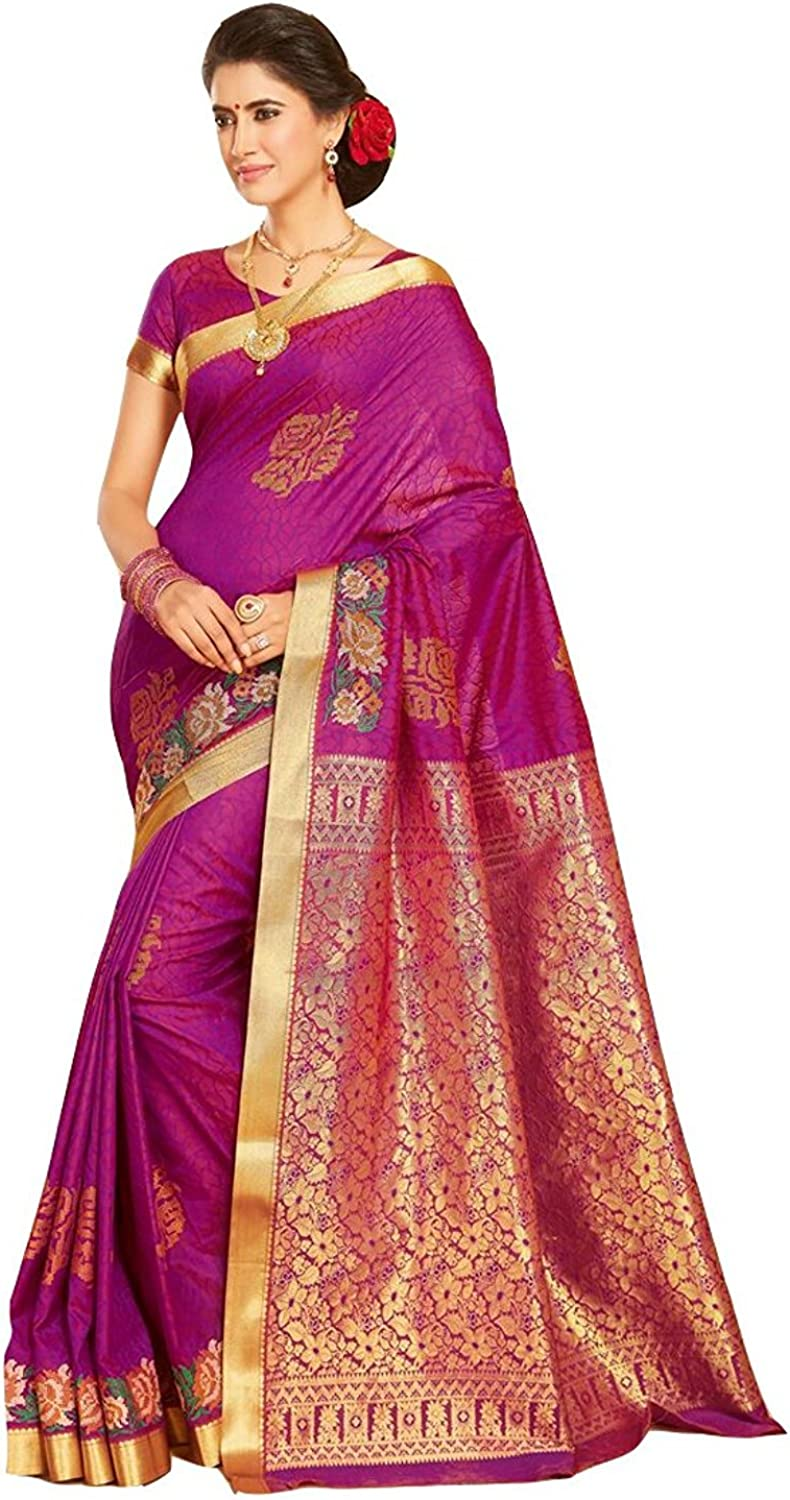 Indian Handicrfats Export Women's Silk Blend Zari Woven Traditional Purple Saree with Unstitched Blouse Piece