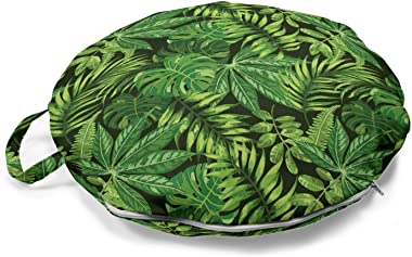 Ambesonne Exotic Round Floor Cushion with Handle, Repetitive Tropical Pattern with Various Types Green Tones Jungle Leaves, D