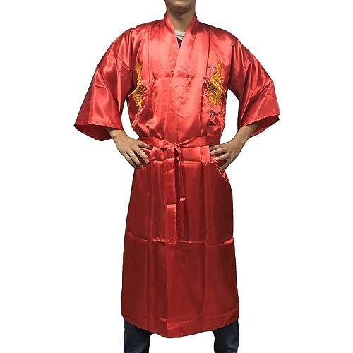 d5f588d681 YL Men s Chinese Gold Dragon Embroidery Night Robe Bathrobe Pyjamas 6  Colours