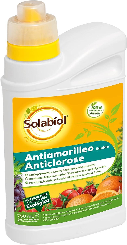 Antiamarilleo líquido para flores, hortalizas y frutales.