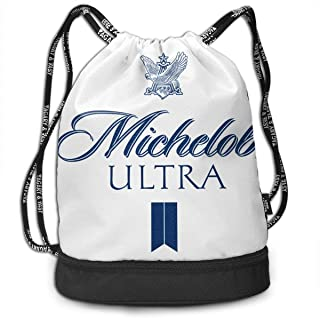 Michelob Ultra Ligh Drawstring Backpack Foldable Gym Tote Dance Bag for Swimming Shopping Sports Women Men Boys Girls