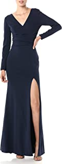 Dress the Population Women's Carmen Sleeve Long Stretch Gown with Slit