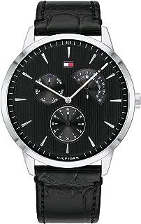 Tommy Hilfiger 1710391 Mens Quartz Watch, Analog Display and Leather Strap, Black