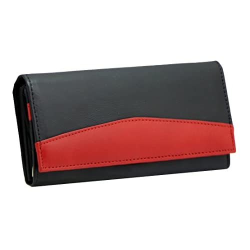 62f631349d10 STARHIDE RFID Blocking Ladies Luxury Soft Black   Red Real Nappa Leather  Long Flap Over Purse