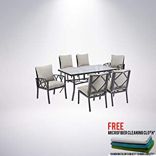 Dundee Ridge 7-Piece Outdoor Patio Dining Set Bundled with Free Microfiber Cleaning Cloth