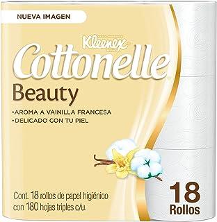 Kleenex Cottonelle Beauty, Papel Higiénico, color Blanco, 18 Rollos x 180 Hojas Triples