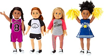 """Springfield Sporty Girl Outfit Sets, Fits 18"""" American Girl Dolls, 5 Items: Soccer Outfit, Cheerleader Outfit & Poms, Basketball Outfit & Sneakers"""