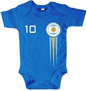 net-shirts Organic Baby Body mit Argentinien Argentina Trikot Aufdruck Fußball Fan WM EM Strampler - Spielernummer wählbar, Größe 03-06 Monate-Spielernummer 10