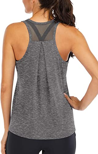 ICTIVE Workout Tops for Women Loose fit Racerback Tank Tops for Women Mesh Backless Muscle Tank Running Tank Tops