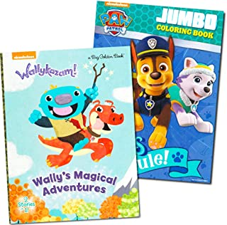 Paw Patrol and Wallykazam Coloring and Story Book Super Set (2 Books)