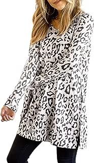 Maysoar Womens Tunic Tops Leopard Print Shirt Long Sleeve V Neck Blouse