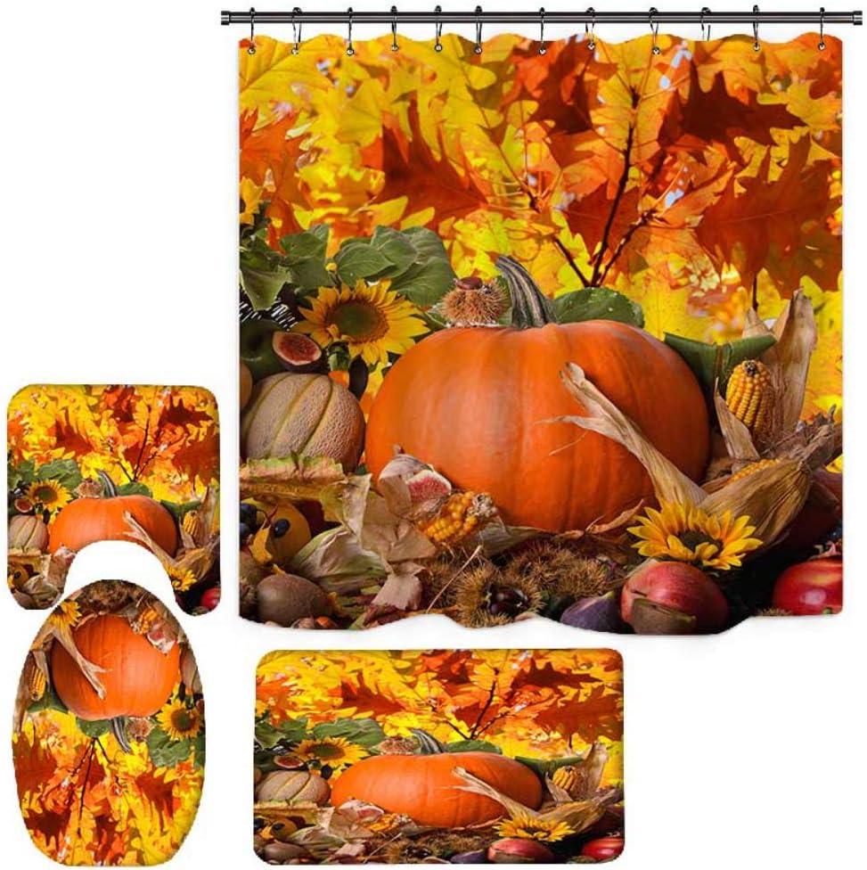 Fall Harvest Ranking TOP19 Festival Pumpkin Cheap sale Shower Thanksgivi Curtain for Sets