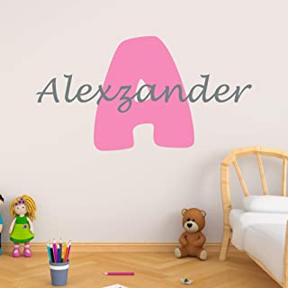 Personalized Boy's Name And Initial Wall Decal, Choose Your Own Name, Initial And Letter Styles, Multiple Sizes, Nursery Wall Decal For Baby Room Decorations, Custom Name & Initial, Wall Decal Sticker