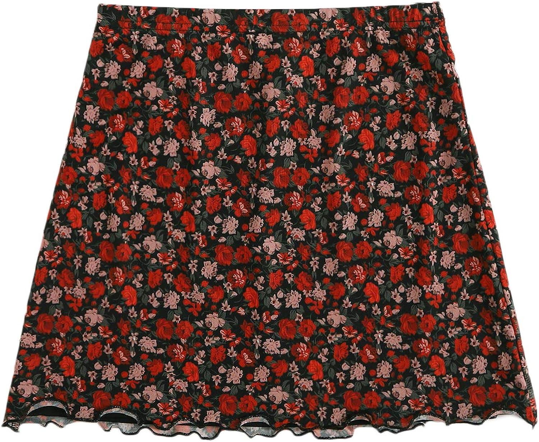 SOLY HUX Women's Ditsy Floral Print High Waist Lettuce Hem Mesh Mini Skirt