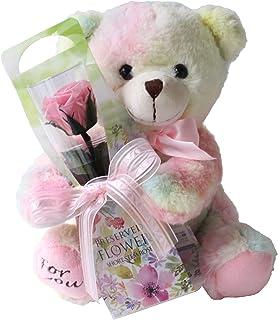 プリザーブドフラワー (虹色クマさんと一輪の薔薇/ピンク) プレゼント お祝い [ 記念日 誕生日 ] アレンジ