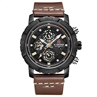 Naviforce 9139 B-Y-D.BN Leather Round Analog Watch for Men - Brown