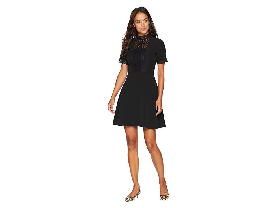 Tahari by ASL Petite Short Sleeve Crepe/Lace Fit and Flare with High Neck (Black) Women