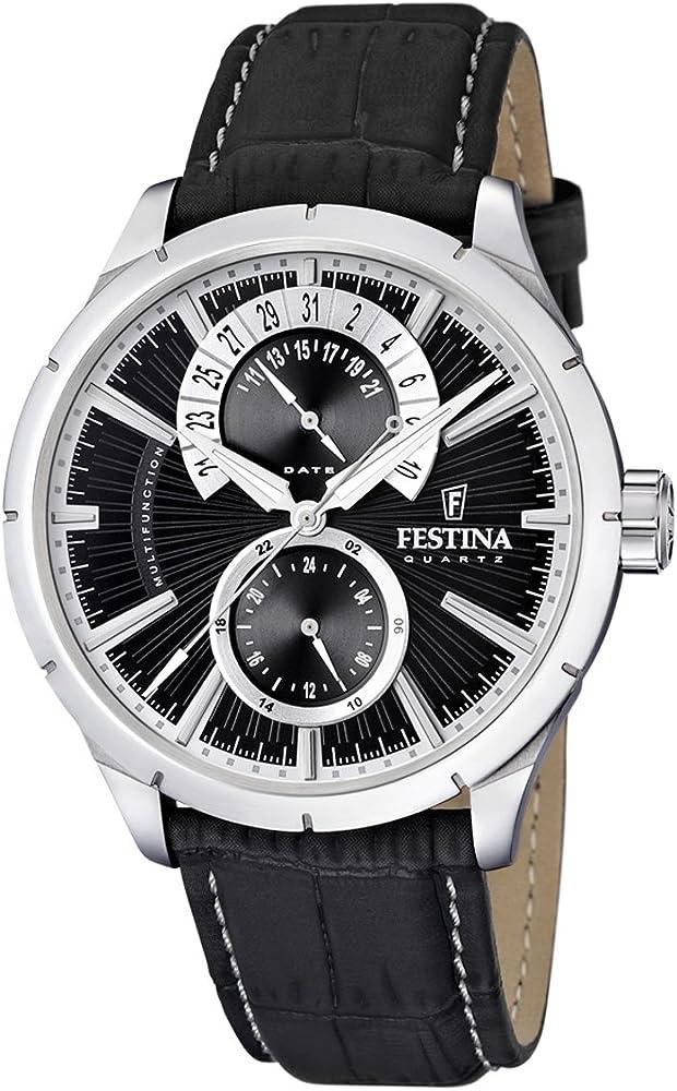 Festina orologio analogico da uomo con cassa in acciaio inossidabile cinturino in vera pelle F16573/3