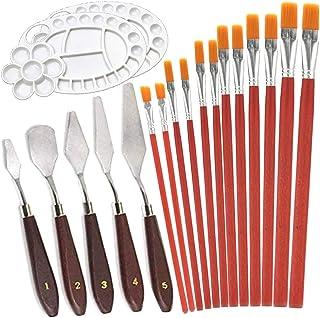 Schilderen Paletmessen,Fadaar 5 Olieverfschilderij Mengschraper + 11 Verf Borstel + 2 Plastic Verf Lade Paletten voor Aqua...