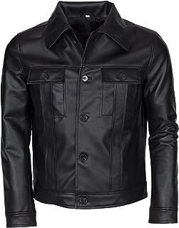 Elvis Presley Mens Vintage American Singer Popstar Black Faux Leather Jacket