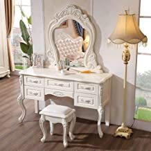 JSZMD American Dressing Table, Oak Solid Wood Carved Dressing Table, Bedroom Storage Table, 130cm Bedroom Furniture, with ...