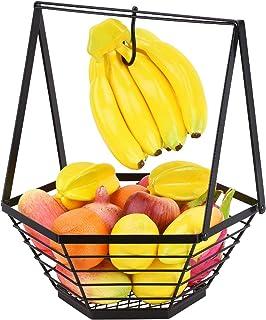 バナナハンガー付きフルーツバスケット,アイアンアーツ バナナフック1個入り野菜パン収納スタンド,カウンターダイニングルーム用の取り外し可能なフルーツボウル-黒. 35x14x39.5cm