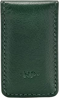 Nuvola Pelle Leather Magnetic Money Clip Clasp Bank Note or Paper Holder Strong Magnet Green