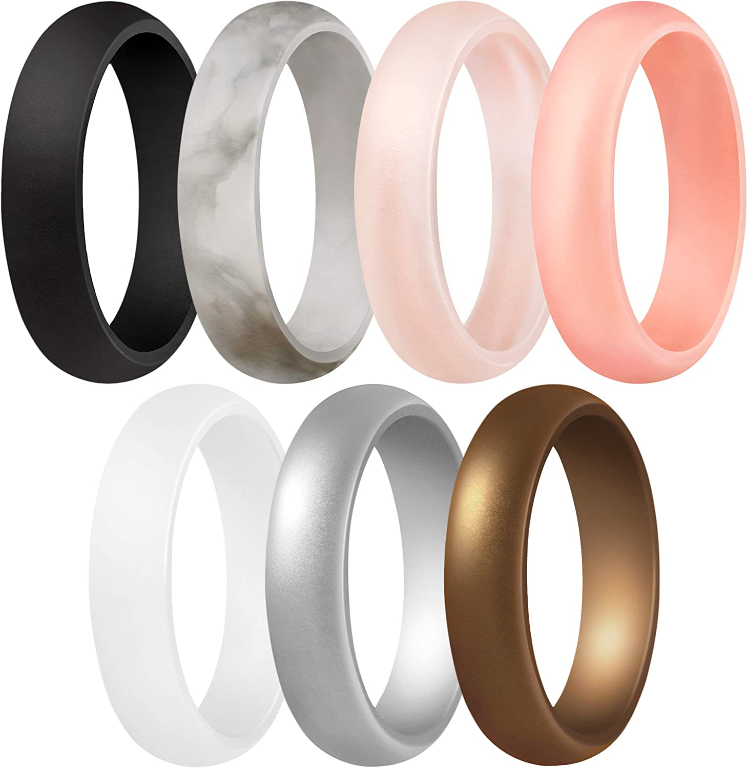 ThunderFit Women's Silicone Wedding Ring - Rubber Wedding Band - 5.5mm Wide, 2mm Thick