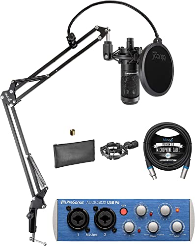 discount Audio-Technica online sale AT2035 Cardioid Condenser Microphone Bundle with PreSonus AudioBox USB 96 Audio Interface for Windows and Mac, Blucoil Boom Arm Plus Pop high quality Filter, and 10-FT Balanced XLR Cable online