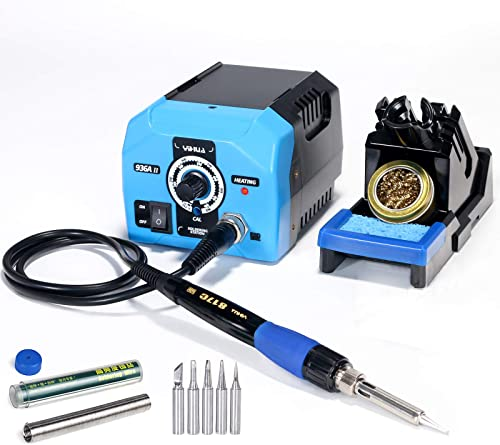 new arrival Yihua online sale 936A II Soldering Station, 65W with Intelligent Working Light. Easily Adjustable from 392℉~896℉. With Plug-in Iron Handle, a Versatile Solder Iron Stand, Solder Wire & 5 extra Solder online sale Tips. online sale