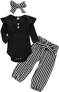 ملابس أطفال بنات بأكمام طائرة رومبير + بنطلون مخطط/زهري + عصابة رأس أزياء شتوية لطيفة للأطفال من عمر الولادة إلى 24 شهر